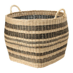 Large Striped Wicker Storage Basket