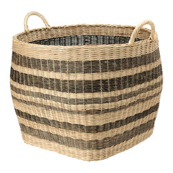 Kouboo - Large Striped Wicker Storage Basket - This large capacity basket hand woven from Wicker is anybodys home organizing dream. Neatly store away your coverlet and decorative bed pillows when not used, your kids toys, your gift wrap rolls, the fire wood in your cabin and many more bulky items. Or are you on the lookout for a decorative cachepot that can take your large house plant? This sturdy basket with solid handles is woven following old traditions without looking dated.1 year limited warranty.