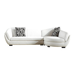 VIG Furniture - 3010 White Bonded Leather Rounded Curves Sectional Sofa - The 3010 sectional sofa brings a soft modern touch to any living room decor it's placed in. This sectional sofa comes upholstered in a beautiful white bonded leather. High density foam is placed within the cushions for added comfort. The sectional features rounded curves with soft edge making it a very inviting piece of furniture.