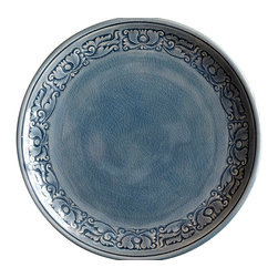 bailanmu - Blue Celadon Plates - Border Floral, Large - Rustic with a unique story to tell, but practical to use every day.
