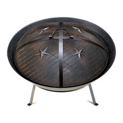 KOOLEKOO - Western Stars Fire Pit - Whether your home is on the range or a little more suburban, this Western-style fire pit will keep you warm as you enjoy a night under the stars. The metal mesh lid features four stars and a convenient handle for easy removal, and the base has four metal feet.