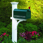 None - Sovereign Mailbox Post - This handsome mailbox post is as durable as it is stylish, providing service no matter the weather. Made of strong cedar and stained an elegant white, this post is long enough to allow for up to a 30-inch burial.