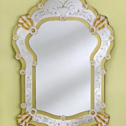 """Venetian Gems - Bettina Venetian Wall Mirror - Adorning your wall with the Bettina Venetian Wall Mirror will completely transform your dcor! Crafted using techniques from Venice, Italy, this wall mirror features beautiful gold accents around the frame and hand-etched adornments. The mirror piece is attached to wood backing and the included hanger allows for easy mounting. Wall Mirror Features: -Venetian wall mirror with gold accents. -Hand-etched frame with adornments. -Hand-cut glass. -Wood backing. -Equipped for easy wall mounting. -Overall dimensions: 49"""" H x 33.5"""" W."""