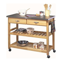 HomeStyles - Utility Cart with Steel Top - This natural finished kitchen cart is topped off by a stainless steel work surface. The two utility drawers give you storage space, and the adjustable shelving can be used as a handy wine rack. Locking rubber casters give you portability when wanted. Give yourself the extra counter space you need in your kitchen! Its stainless steel top makes any meal a breeze, and its lower levels of drawers and shelves let you keep accoutrements within reach. Two easy open utility drawers on metal glides. Adjustable slotted middle shelf. Solid bottom shelf. Brushed steel towel holder. Heavy duty locking rubber casters. Made from Asian hardwood. Made in Thailand. 44 in. L x 20.5 in. W x 36 in. H. Assembly InstructionsOur kitchen cart is perfect for the kitchen needing just a bit more surface and storage space. clear coat finish helping to protect against marring from normal use. The stainless steel top makes clean-ups easy!