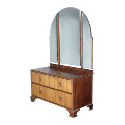 Antiques - Antique Art Deco Walnut Tri-Fold Mirror Dresser - Origin: England