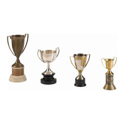 Arteriors - Hockaday Brass Trophies, Set of 4 - If you've never won a thing in your life, or even if you have, you'll want this set of vintage-inspired loving cups for your mantel or library. The traditional two-handle cups are designed in brass finishes and come in assorted sizes.