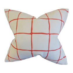 "The Pillow Collection - Owen Checked Pillow, Poppy 18"" x 18"" - Add a little color to your interiors with this striking accent piece."