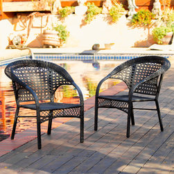 Christopher Knight Home - Christopher Knight Home Maria Black Wicker Fan Back Outdoor Club Chairs (Set of - Add a touch of style to your outdoor space with this set of two black outdoor club chairs. Constructed of elegant iron and wicker,these outdoor chairs are durable as well as elegant and would be a striking addition to your patio or garden.