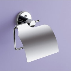 Gedy - Chrome Toilet Paper Holder With Cover - Modern toilet paper holder with cover made of steel in a polished chrome finish. Wall mounted toilet roll holder with cover made of chromed steel. From Gedy Felce Collection.