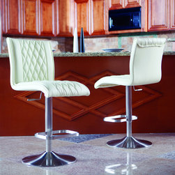 Matrix - Dyemon Adjustable-height Swivel Stool - Modernize your kitchen, bar, or dining room with these stylish adjustable bar stools. Featuring a 360-degree swivel ability, these attractive stools are complete with beautiful diamond-tufted upholstery that is contoured for a comfortable seat.