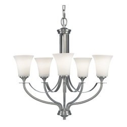 Feiss Lighting - Brushed Steel Chandelier with Five Lights - F2252/5BS - Fresh and inspired, this five light chandelier in brushed steel is made to please. Opal etched glass and the fusion of traditional and contemporary design elements will most assuredly compliment your homes aesthetics while providing a bright clean light. This chandeliers measurements include; a height of 25-3/8, a width of 25-1/2, a canopy dimension of 5-1/2 and a top width of 5. The fixture hangs by a 72 chain. Takes (5) 100-watt incandescent A19 bulb(s). Bulb(s) sold separately. Dry location rated.