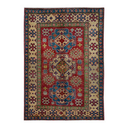 """ALRUG - Handmade Red Oriental Kazak Rug 3' 5"""" x 4' 10"""" (ft) - This Afghan Kazak design rug is hand-knotted with Wool on Cotton."""