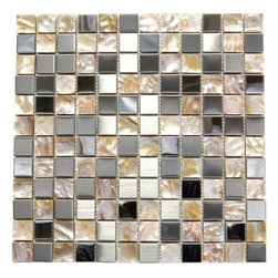 Oddysey Perla 12X12 Blend - Stainless Steel and Shell 1x1 Mix Mosaic The unique blend of 1x1 shell mosaic and stainless steel results in a stunning modern effect .This tile is ideal for steel back splashes, accent walls, fireplaces and more. The tiles in this sheet are mounted on a nylon mesh which allows for an easy installation.