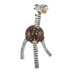 Zeckos - Recycled Coconut Shell Zebra Accent Lamp Night Light - This hand crafted zebra accent lamp adds a wonderful accent to your home, and it makes a great night light in children`s rooms. The body of the zebra is made from a recycled coconut shell with dozens of holes drilled in it to let light shine through, while the head, neck, and legs are made of wood and are hand painted. The lamp uses a night light style bulb (not included), has a rocker on/off switch, and measures 14  inches tall, 7  inches long, and 8 inches wide.