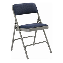 KFI Seating - Folding Chair w Fabric Padded Seat & Back - S - Color: Navy Blue Fabric-Grey FrameSet of 4 folding chair. 1.25 in. Padded seat and back with navy or beige fabric. Grey frame for navy fabric. Beige frame for beige fabric. Double hinged. 0.88 in. Round. Double riveted cross-braces. Non-marring floor glides. Pictured in Navy Blue fabric - Grey frame. 18.5 in. W x 19.75 in. D x 30 in. H