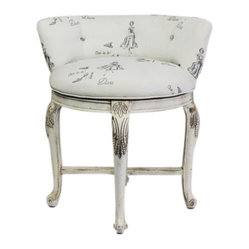 Vanity Chair in Diva Print Fabric - $500 Est. Retail - $250 on Chairish.com