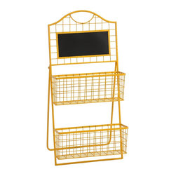 iMax - iMax Richards Metal Magazine Holder X-21347 - The Richards Metal Magazine Holder incorporates simple two-tiered metal baskets topped with a chalk board. The easel style stand and bright yellow finish make it fun and easy to display.