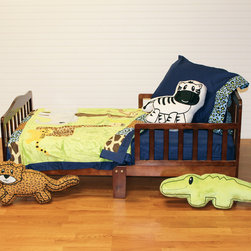 """Jazzie Jungle Boy - Toddler Set (4pc) - Come on in and explore a world of """"adventure"""" with """"One Grace Place"""" Jazzie Jungle Boy collection.  This 4pc collection includes crib sheet, medium quilt, pillowcase or sham, and decorative pillow.  Crib sheet is in the collection's navy cotton fabric. Coordinating quilt is most """"adventurous"""" using all the animals in this jungle appliqu�d on the front of the quilt with green soft minky behind.  Quilt is framed using all the cotton print main animal prints.  Back is green minky to match front. Entire quilt is trimmed in navy cotton fabric. Set come with pillowcase (shown) OR pillow sham.  PIllowcase is navy with cheetah trim.  Pillow Sham is zebra print with green minky trim.  Set includes one of the decorative pillows shown: alligator, cheetah or zebra.  Requests will be honored if supplies allow."""