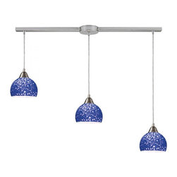 ELK Lighting - Three Light Satin Nickel Pebbled Blue Glass Multi Light Pendant - Three Light Satin Nickel Pebbled Blue Glass Multi Light Pendant