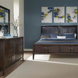 Liberty Furniture - Liberty Furniture Arterra Storage Bed & Dresser & Mirror & Nightstand in Java Fi - Arterra brings together contemporary design with crisp clean lines and unique textures.  Vacuum formed drawer fronts allow for a concave center in the drawer fronts that is accented by satin nickel bar pull hardware.  A java finish adds to the contemporary flair of the group.Collection Features: Full Extension Metal Side Drawer GlidesFrench & English Dovetail ConstructionBottom Case Dust ProofingFully Stained Interior DrawersFelt Lined Top DrawersStraight Line CasesRaised Tapered FeetVacuum Formed Drawer FrontsConcave Center SectionsPVC Uphostered HeadboardNight Stand Creates Low Profile Wall BedSatin Nickel Bar Pull HardwareBeveled  Mirrored Glass