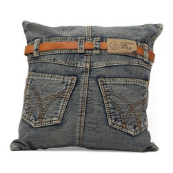 Zuo Modern - Zuo Modern Back Jean Cushion - Blue Denim - 98220 - Shop for Pillows from Hayneedle.com! Nothing wears as comfortable as your favorite pair of jeans. Now you can add a little denim blue to any chair couch or bed with the Zuo Modern Back Jean Cushion - Blue Denim. Made from real jeans this fun pillow is naturally soft and comfy. It even comes with a leather belt and a couple of pockets making this cushion the perfect fit anywhere you put it.About Zuo ModernZuo Modern designs products with a simple philosophy in mind: clean modern shapes combined with classic colors. All Zuo Modern products are put through rigorous processes to ensure quality materials and production ensuring that your item reaches you in top condition. Yet Zuo pieces are modestly priced for today's consumers. Zuo works to inspire a sense of value and worth along with the significance of aesthetics. If it passes the Wow this feels solid test along with the This looks amazing and the What a great price test you know it's a Zuo product.