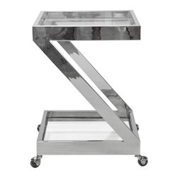 Worlds Away - Worlds Away Nickel Plated Z Bar Cart with Glass Top LENOX N - Worlds Away Nickel Plated Z Bar Cart with Glass Top LENOX N