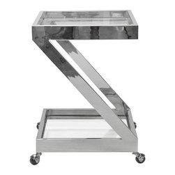 Worlds Away - Worlds Away Nickel Plated Z Bar Cart with Glass Top LENOX N - Worlds Away Nickel Plated Z Bar Cart with Glass Top LENOX N