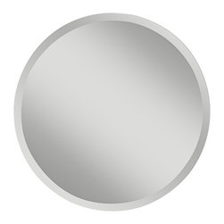 """Murray Feiss - Contemporary Feiss Infinity 30"""" Wide Round Wall Mirror - Add some clean simple style to any room with this round wall mirror from Murray Feiss. From the Infinity Collection this versatile wall mirror can open up a space. Frameless design makes the edge blend into your room. Looks great in a contemporary or transitional decor scheme. From the Infinity Collection. Round wall mirror with frameless design. Beveled glass edge. 30"""" wide. 30"""" high. 1/2"""" deep. Weights 14 1/2 lbs.  A Feiss wall mirror design.  From the Infinity Collection.  Round wall mirror with frameless design.  Beveled glass edge.  30"""" wide.  1/2"""" deep.  Hang weight 14 1/2 lbs."""