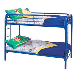 Coaster - Coaster Toby Twin over Twin Metal Bunk Bed in Blue Finish - Coaster - Bunk Beds - 2256B - Coaster brings innovative furniture at competitive prices to your home.The Coaster bunk beds are great space savers for your kids room. With a sturdy build and a playful blue finish this bunk bed will be perfect for boys or girls.Features: