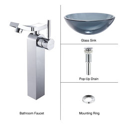 Kraus - Kraus C-GV-104-12mm-14300CH Clear Black Glass Vessel Sink and Unicus Faucet - Add a touch of elegance to your bathroom with a glass sink combo from Kraus