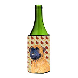 Caroline's Treasures - Mastiff Fall Leaves Portrait Wine Bottle Koozie Hugger SS4336LITERK - Mastiff Fall Leaves Portrait Wine Bottle Koozie Hugger SS4336LITERK Fits 750 ml. wine or other beverage bottles. Fits 24 oz. cans or pint bottles. Great collapsible koozie for large cans of beer, Energy Drinks or large Iced Tea beverages. Great to keep track of your beverage and add a bit of flair to a gathering. Wash the hugger in your washing machine. Design will not come off.