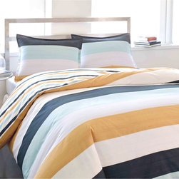 City Scene - City Scene Sandbar Stripe Cotton 3-piece Duvet Cover Set - City Scene keeps your bedroom in fashion with its iconic contemporary looks. Its Sandbar duvet cover set is no exception. It features a stripe pattern in a blue,orange and white finish. Machine washable for easy care and repeated use.