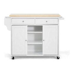 Wholesale Interiors - Baxton Studio Meryland White Modern Kitchen Island Cart - - Contemporary kitchen cart