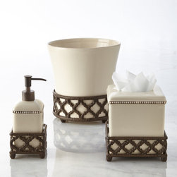 GG Collection - Wastebasket - GG CollectionWastebasketDesigner About GG Collection:GG Collection is the brainchild of two friends Dixie Harrigan and Leigh Anne Baysinger who wanted to make accessories for those who prefer classical decor to modern influences. Together they started a movement for the revival of the classic European style beginning with Tuscan-inspired canisters and spice jars then expanding to include dinnerware and other decor. Their creative combination of metal stoneware and mouth-blown glass achieves the relaxed European-country style they were striving to create.