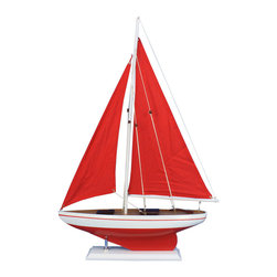 """Handcrafted Nautical Decor - Pacific Sailor Red 25"""" - Red Sails - Not a model ship kit"""