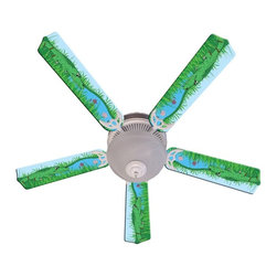 Ceiling Fan Designers - Ceiling Fan Designers Kids Alligator Gator Tale Indoor Ceiling Fan Multicolor - - Shop for Ceiling Fans and Components from Hayneedle.com! The Ceiling Fan Designers Kids Alligator Gator Tale Indoor Ceiling Fan is a super cute and practical addition to any kid's room pediatrician's office or day care center. It has an adorable alligator design and is designed to cool down and light up the room in style. It comes in your choice of size: 42-inch with 4 blades or 52-inch with 5. The blades are reversible so you get the colorful design on one side and white on the other. It has a powerful yet quiet 120-volt 3-speed motor with easy switch for year-round comfort. The 42-inch fan includes a schoolhouse-style white glass shade and requires one 60-watt candelabra bulb (not included). The 52-inch fan has three alabaster glass shades and requires three 60-watt candelabra bulbs (included). Your ceiling fan includes a 15- to 30-year manufacturer's warranty (based on size). See ya later alligator.