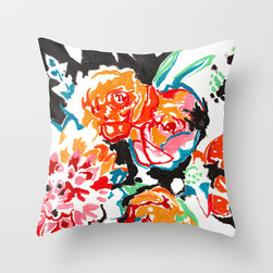 Brush Floral Throw Pillow by Sirin Thada - I love this painterly floral pillow for a bolder look.