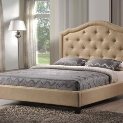 LuXeo - Brentwood Tufted Upholstered Platform Bed in Beige Fabric - The Brentwood Upholstered Platform Bed embodies the glamour and excitement of old Hollywood, with striking details like the arched headboard and silver nail head trim. This piece will fill your bedroom with classic charm.
