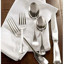 Maxfield Flatware, 20-Piece Set - Like vintage silverware collected over time, each of our Maxfield Flatware settings combines five different designs united by their 19th-century English origins.Made of substantial nickel with a durable 10-micron-thick silver-plated finish.Tumbled by hand to achieve the warm patina of timeworn heirlooms.Dinner fork and teaspoon are embossed with tiny crowns that call to mind the insignias of grand hotels or family crests.20-piece set includes four 5-piece place settings.Each 5-piece place setting includes salad fork, dinner fork, knife, soup spoon and teaspoon.Store / Internet Only.
