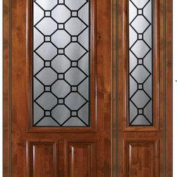 """Prehung Side light Door 96 Wood Alder Casablanca 2/3 Lite Glass - SKU#E17415-G-DE823CB1-1BrandGlassCraftDoor TypeExteriorManufacturer Collection2/3 Lite Entry DoorsDoor ModelCasablancaDoor MaterialWoodWoodgrainKnotty AlderVeneerPrice4390Door Size Options  +$percentCore TypeDoor StyleDoor Lite Style2/3 LiteDoor Panel Style2 PanelHome Style MatchingDoor ConstructionEstanciaPrehanging OptionsPrehungPrehung ConfigurationDoor with One SideliteDoor Thickness (Inches)1.75Glass Thickness (Inches)Glass TypeTriple GlazedGlass CamingBlackGlass FeaturesTempered , BeveledGlass StyleGlass TextureGlass ObscurityDoor FeaturesDoor ApprovalsWind-load Rated , SFI , TCEQ , AMD , NFRC-IG , IRC , NFRC-Safety GlassDoor FinishesDoor AccessoriesWeight (lbs)498Crating Size25"""" (w)x 108"""" (l)x 52"""" (h)Lead TimeSlab Doors: 7 Business DaysPrehung:14 Business DaysPrefinished, PreHung:21 Business DaysWarrantyOne (1) year limited warranty for all unfinished wood doorsOne (1) year limited warranty for all factory?finished wood doors"""