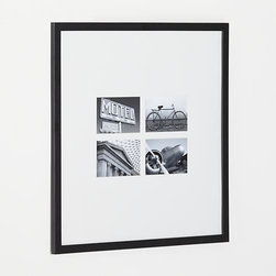 Matte Black Four 4x6 Wall Frame - Classic black wood and extra-wide white mat frames four treasured photos in a modern, gallery-style presentation.
