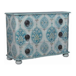 "Guildmaster - Dutchess Chest by Guildmaster - So pretty, it's hard to decide where to put it. The beauty speaks for itself. Three spacious drawers are just an extra. Hand-painted blue floral cartouche patterned paper is mounted to this solid wood chest. Ring pulls with decorative back plates add the finishing touch. Try placing this in a bedroom painted robin's egg blue for a relaxing coastal feel. (GM) 46"" High x 66"" Wide x 21.5"" Deep"