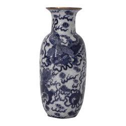 """Maitland-Smith - Asian Blue & White """"Foo Dog"""" Vase - Asian Blue & White Vase with Gold accent rim and crackle finish. Foo Dog motif. New product."""