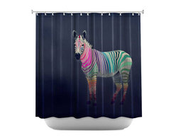 DiaNoche Designs - Shower Curtain Artistic - Rainbow Zebra - DiaNoche Designs works with artists from around the world to bring unique, artistic products to decorate all aspects of your home.  Our designer Shower Curtains will be the talk of every guest to visit your bathroom!  Our Shower Curtains have Sewn reinforced holes for curtain rings, Shower Curtain Rings Not Included.  Dye Sublimation printing adheres the ink to the material for long life and durability. Machine Wash upon arrival for maximum softness on cold and dry low.  Printed in USA.