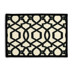 Black Velvet Flocked Trellis Tailored Placemat Set - Class up your table's act with a set of Tailored Placemats finished with a contemporary contrast border. So pretty you'll want to leave them out well beyond dinner time! We love it in this black velvet flocked trellis in on cream cotton that adds subtle texture & warmth to your room.