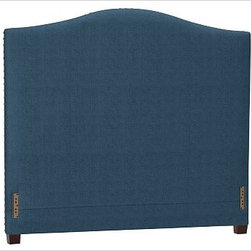 """Raleigh Nailhead Camelback Headboard, Cal. King, Brushed Canvas Harbor Blue - Crafted by our own master upholsterers in the heart of North Carolina, our upholstered bed and headboard is available in a graceful camelback silhouette. Crafted with a kiln-dried hardwood frame. Headboard, footrail and siderails are thickly padded and tightly upholstered with your choice of fabric. Nailhead detail trims the outer edges of the headboard. Exposed block feet have a hand-applied espresso finish. Headboard also available separately. The headboard-only option is guaranteed to fit with our PB metal bedframe using the headboard hardware. Bed is designed for use with a box spring and mattress. This is a special-order item and ships directly from the manufacturer. To see fabrics available for Quick Ship and to view our order and return policy, click on the Shipping Info tab above. This item can also be customized with your choice of over {{link path='pages/popups/fab_leather_popup.html' class='popup' width='720' height='800'}}80 custom fabrics and colors{{/link}}. For details and pricing on custom fabrics, please call us at 1.800.840.3658 or click Live Help. View and compare with other collections at {{link path='pages/popups/bedroom_DOC.html' class='popup' width='720' height='800'}}Bedroom Furniture Facts{{/link}}. Crafted in the USA. Full: 57.5"""" wide x 83.5"""" long x 59"""" high Queen: 64.5"""" wide x 88.5"""" long x 59"""" high King: 80.5"""" wide x 88.5"""" long x 59"""" high Cal. King: 74.5"""" wide x 92.5"""" long x 59"""" high Full: 57.5"""" wide x 4.5"""" thick x 59"""" high Queen: 64.5"""" wide x 4.5"""" thick x 59"""" high King: 80.5"""" wide x 4.5"""" thick x 59"""" high Cal. King: 74.5"""" wide x 4.5"""" thick x 59"""" high"""