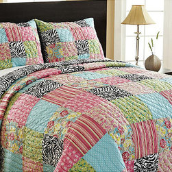 None - Zebra Patchwork Reversible 3-piece Quilt Set - Complete any bedroom decor with this fun reversible quilt set. This set features a patchwork design on one side a chic zebra pattern on the reverse.