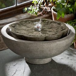 Campania International - Campania Cast Stone Flores Garden Terrace Outdoor Fountain - FT-170-AL - Shop for Indoor Fountains from Hayneedle.com! The Campania Cast Stone Flores Garden Terrace Fountain is a piece that fits perfectly into your landscape and looks great with any garden or patio decor. Add the soothing sound of gently moving water to your outdoor environment with this easy high-quality piece. You can even adjust the sound of the water to create just the backyard oasis you're craving. This cast stone fountain is built without chemical sealers so it will age gracefully as time passes. Campania Cast Stone Flores Garden Terrace Fountain is available in the following finishes: natural antique bronze aged limestone alpine stone brownstone copper bronze chandoline English moss greenstone lead antique travertine and verde subject to inventory supply.About Campania InternationalEstablished in 1984 Campania International's reputation has been built on quality original products and service. Originally selling terra cotta planters Campania soon began to research and develop the design and manufacture of cast stone garden planters and ornaments. Campania is also an importer and wholesaler of garden products including polyethylene terra cotta glazed pottery cast iron and fiberglass planters as well as classic garden structures fountains and cast resin statuary.Campania Cast Stone: The ProcessThe creation of Campania's cast stone pieces begins and ends by hand. From the creation of an original design making of a mold pouring the cast stone application of the patina to the final packing of an order the process is both technical and artistic. As many as 30 pairs of hands are involved in the creation of each Campania piece in a labor intensive 15 step process.The process begins either with the creation of an original copyrighted design by Campania's artisans or an antique original. Antique originals will often require some restoration work which is also done in-house by ex