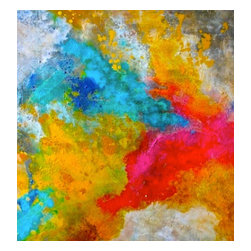 Bryan Boomershine Art - Abstract Original Bright Colored Painting - Title: Tropical Party