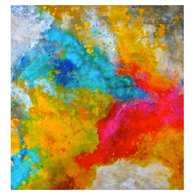 Bryan Boomershine Art - Original Abstract Original Bright Colored Painting - Title: Tropical Party